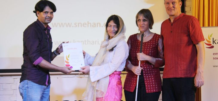 Anumuthu receives kanthari certificate from Irom Sharmila