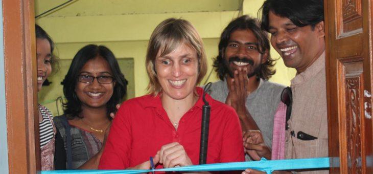 With big smile Sabriye Tenberken inaugurated Snehan office