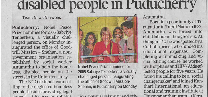 Newspaper article about Goodwill Mission – Snehan inauguration
