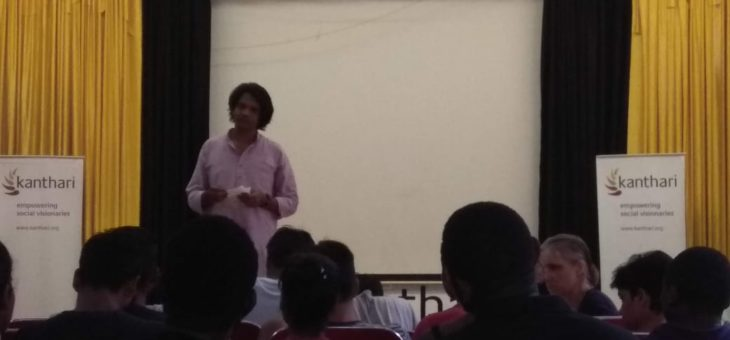 Anumuthu shared Snehan project to the kanthari 2019 participants