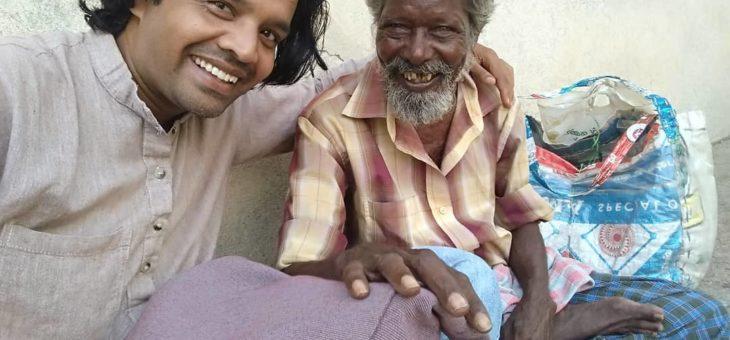 innocent smile of homeless